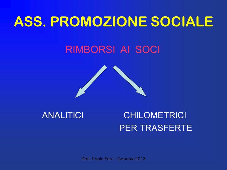 Dott. Paolo Ferri - Gennaio 2013 ASS. PROMOZIONE SOCIALE ANALITICI CHILOMETRICI PER TRASFERTE RIMBORSI AI SOCI