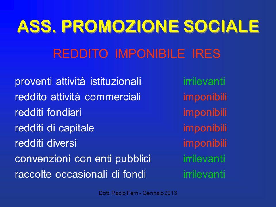 Dott. Paolo Ferri - Gennaio 2013 ASS. PROMOZIONE SOCIALE proventi attività istituzionali irrilevanti reddito attività commerciali imponibili redditi f