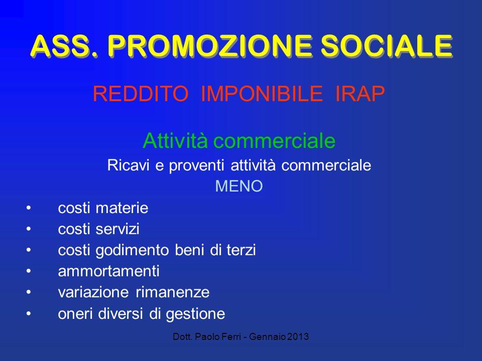 Dott. Paolo Ferri - Gennaio 2013 ASS. PROMOZIONE SOCIALE Attività commerciale Ricavi e proventi attività commerciale MENO costi materie costi servizi