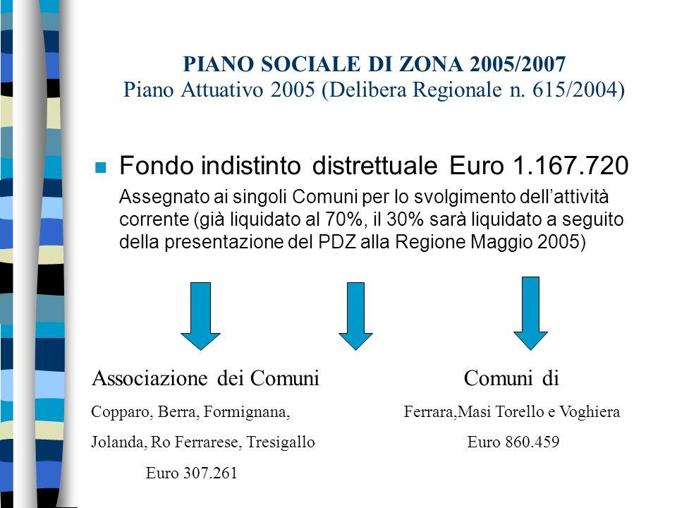 PIANO SOCIALE DI ZONA 2005/2007 Piano Attuativo 2005 (Delibera Regionale n.