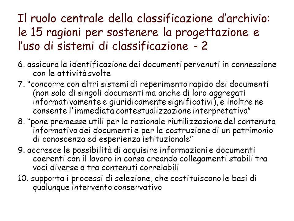 Il ruolo centrale della classificazione darchivio: le 15 ragioni per sostenere la progettazione e luso di sistemi di classificazione - 2 6.
