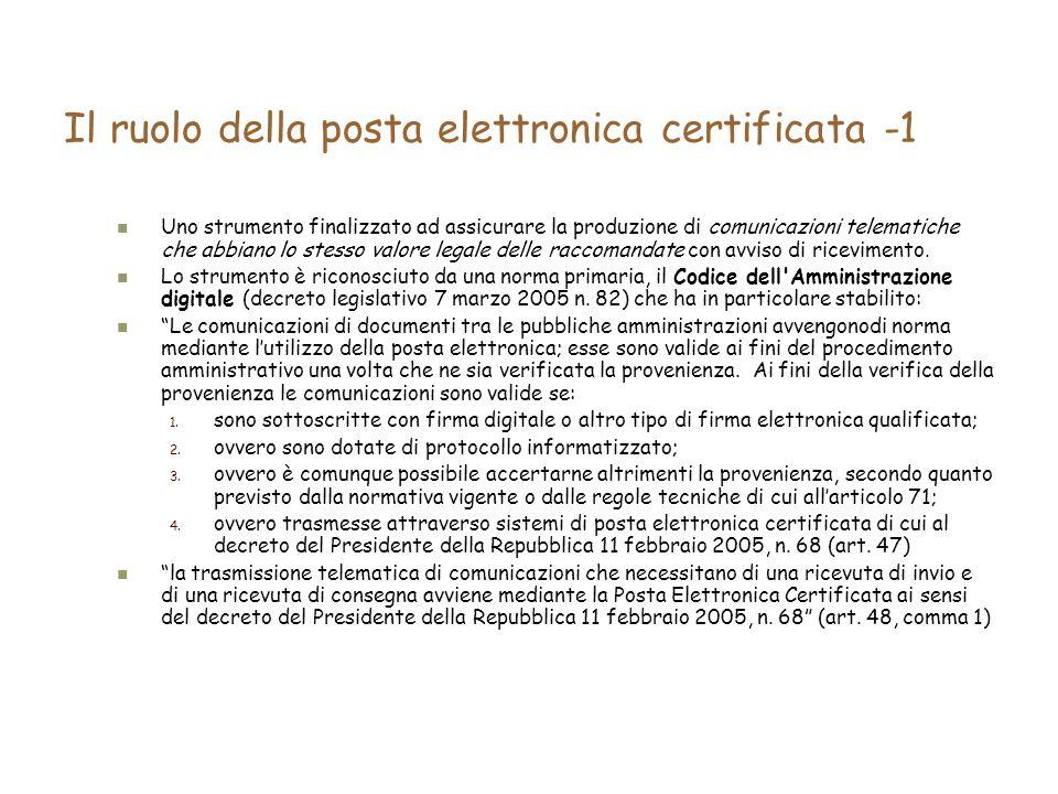 Il ruolo della posta elettronica certificata -1 Uno strumento finalizzato ad assicurare la produzione di comunicazioni telematiche che abbiano lo stesso valore legale delle raccomandate con avviso di ricevimento.