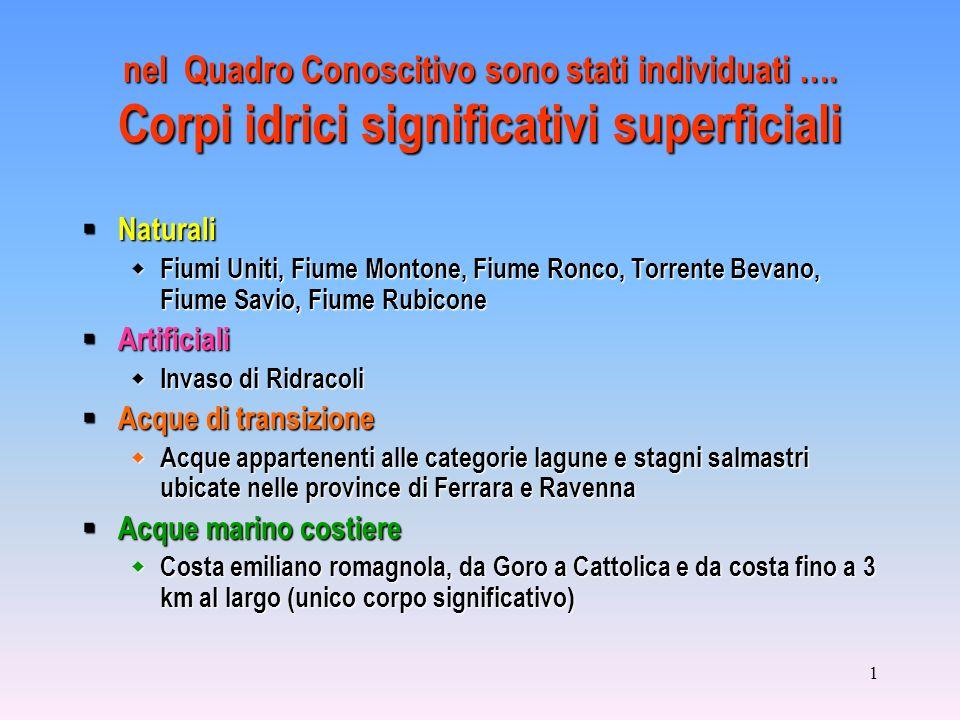 1 nel Quadro Conoscitivo sono stati individuati …. Corpi idrici significativi superficiali Naturali Naturali Fiumi Uniti, Fiume Montone, Fiume Ronco,