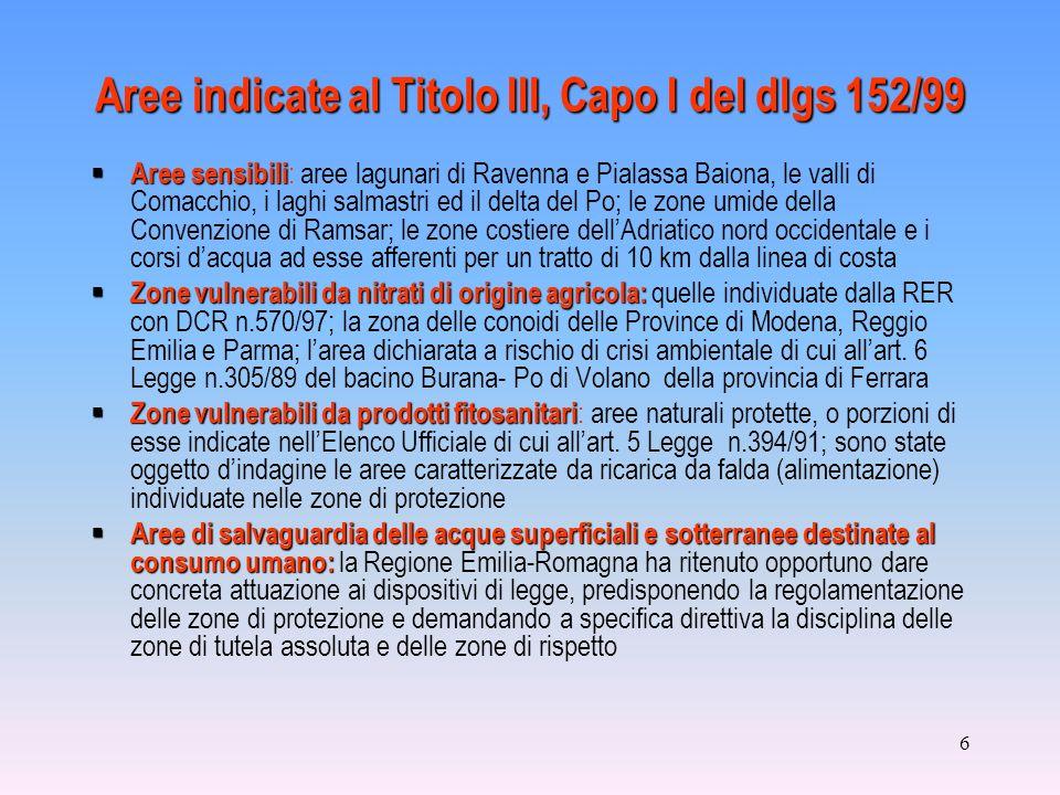 6 Aree indicate al Titolo III, Capo I del dlgs 152/99 Aree sensibili Aree sensibili : aree lagunari di Ravenna e Pialassa Baiona, le valli di Comacchi
