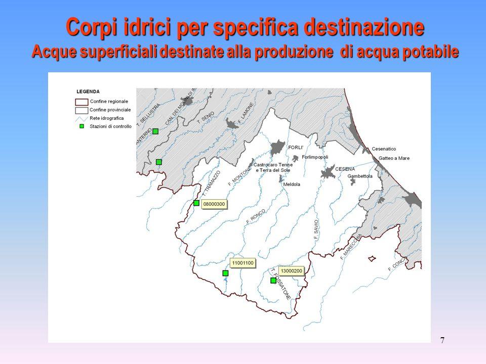 7 Corpi idrici per specifica destinazione Acque superficiali destinate alla produzione di acqua potabile