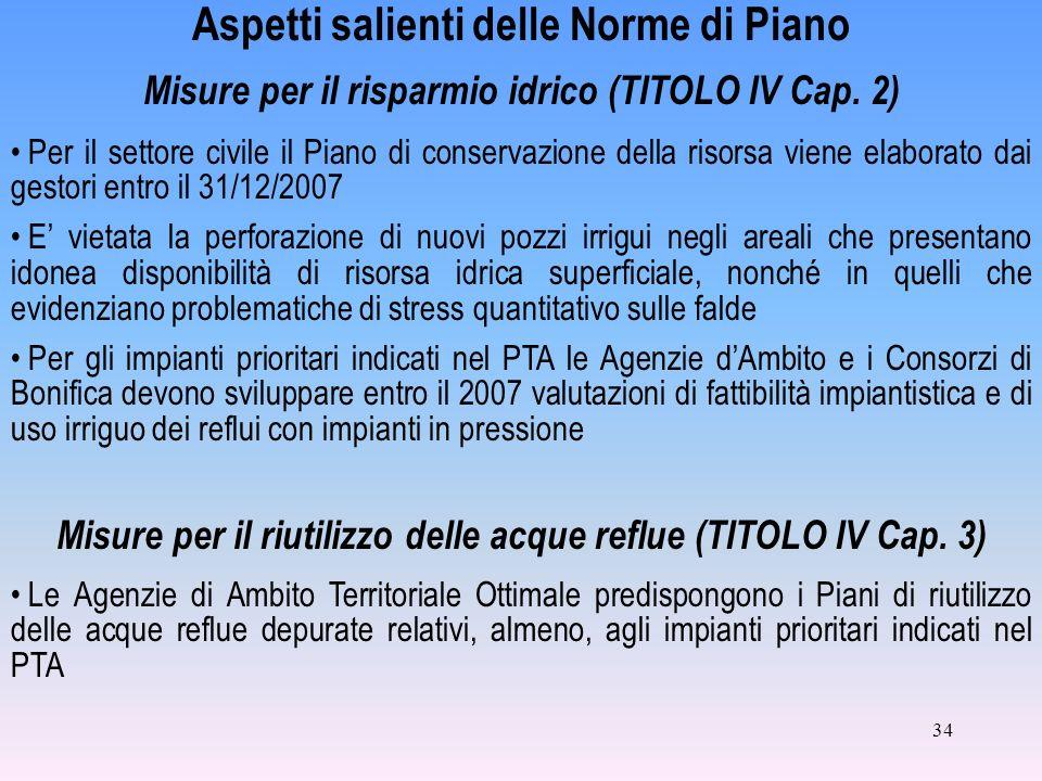 34 Aspetti salienti delle Norme di Piano Misure per il risparmio idrico (TITOLO IV Cap.