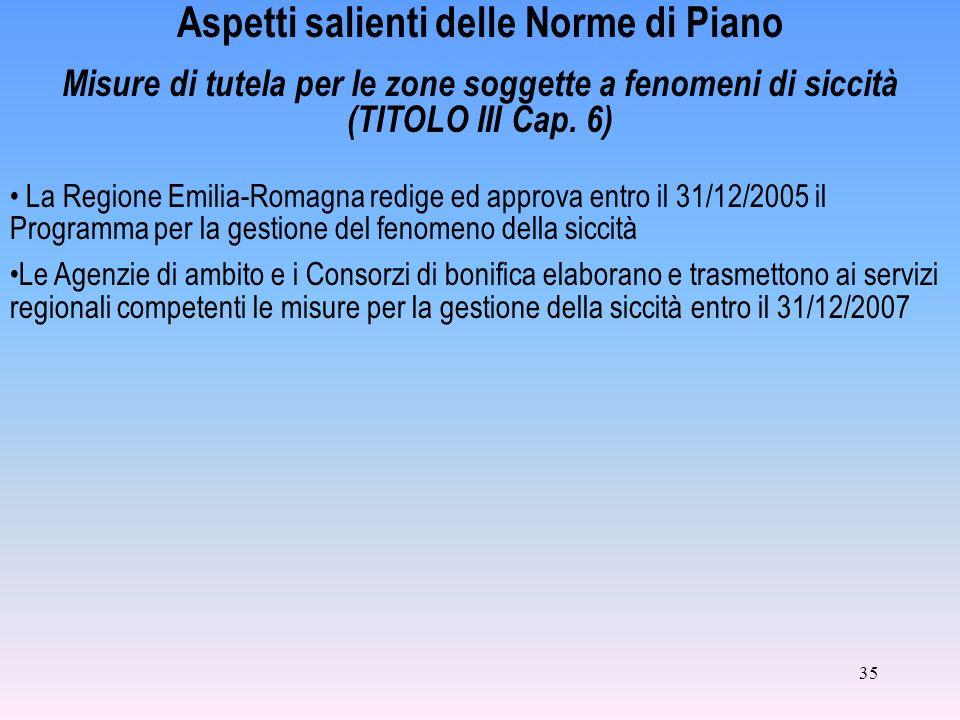 35 Aspetti salienti delle Norme di Piano Misure di tutela per le zone soggette a fenomeni di siccità (TITOLO III Cap. 6) La Regione Emilia-Romagna red