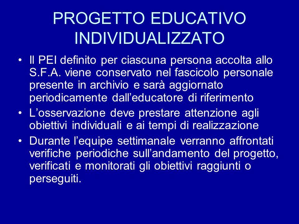 PROGETTO EDUCATIVO INDIVIDUALIZZATO Il PEI definito per ciascuna persona accolta allo S.F.A. viene conservato nel fascicolo personale presente in arch