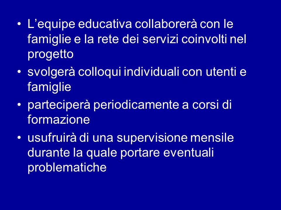Lequipe educativa collaborerà con le famiglie e la rete dei servizi coinvolti nel progetto svolgerà colloqui individuali con utenti e famiglie parteci