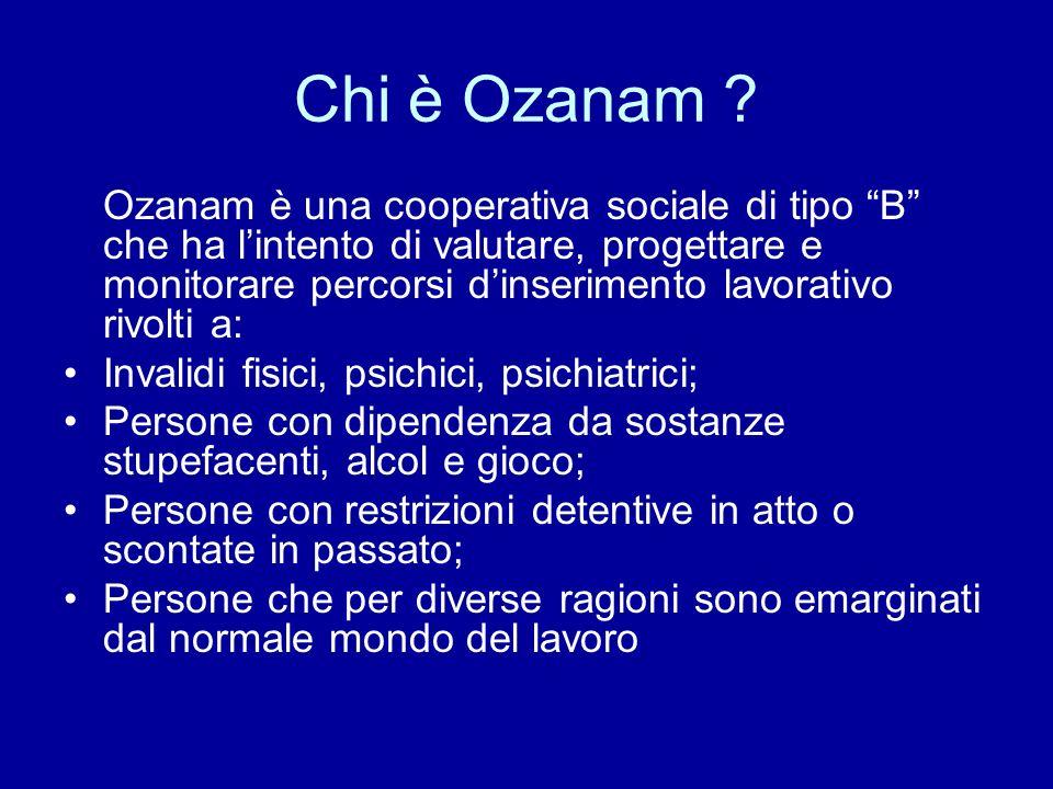 Chi è Ozanam ? Ozanam è una cooperativa sociale di tipo B che ha lintento di valutare, progettare e monitorare percorsi dinserimento lavorativo rivolt