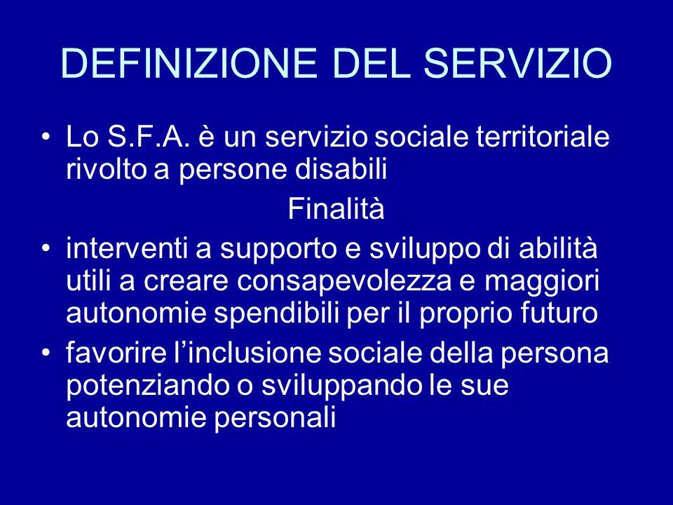 DEFINIZIONE DEL SERVIZIO Lo S.F.A. è un servizio sociale territoriale rivolto a persone disabili Finalità interventi a supporto e sviluppo di abilità
