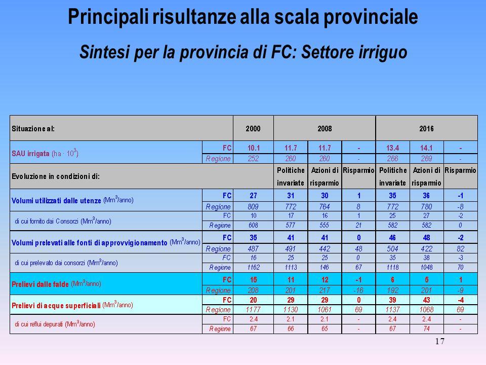 17 Principali risultanze alla scala provinciale Sintesi per la provincia di FC: Settore irriguo