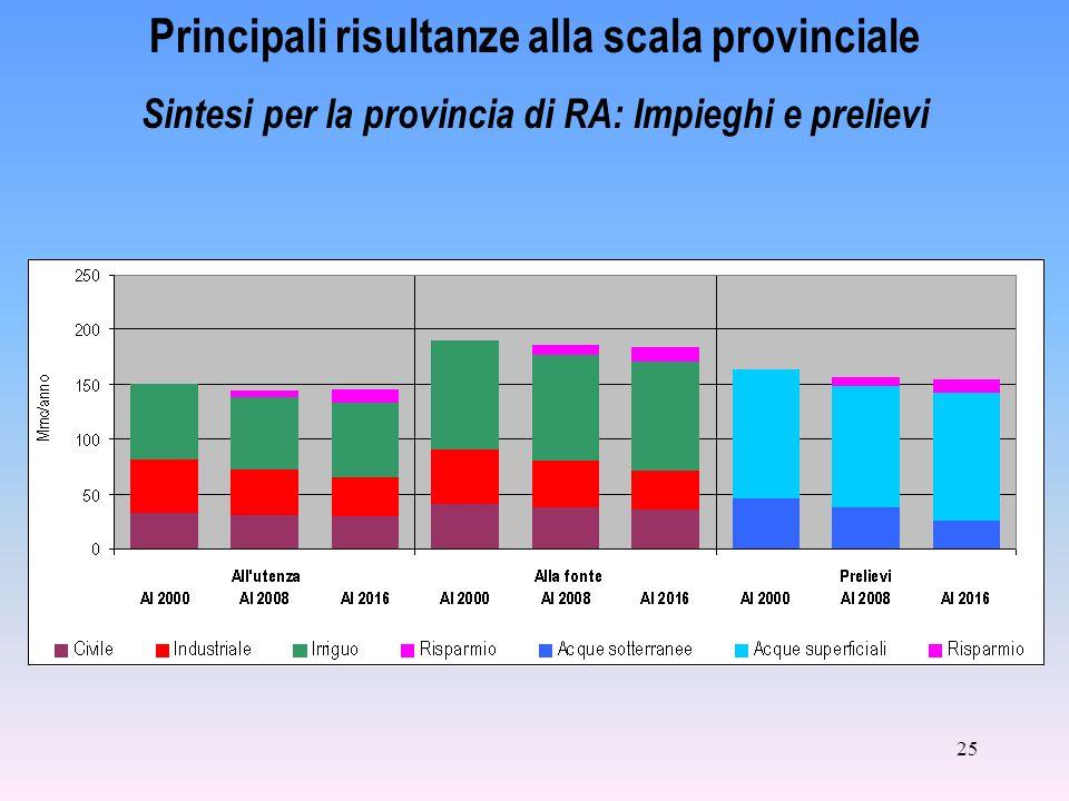 25 Principali risultanze alla scala provinciale Sintesi per la provincia di RA: Impieghi e prelievi