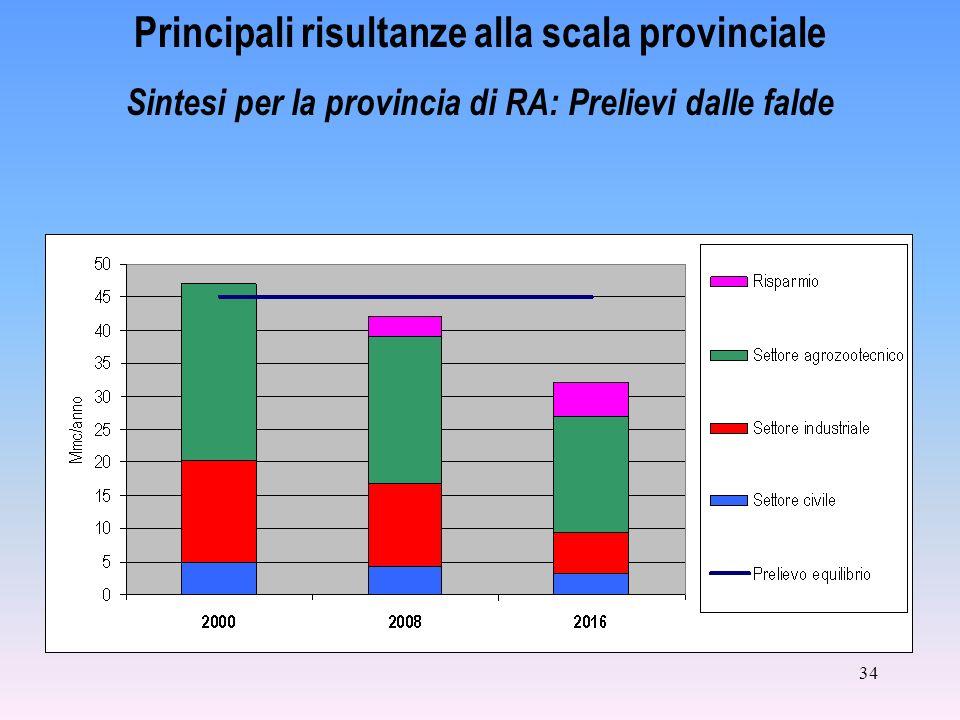 34 Principali risultanze alla scala provinciale Sintesi per la provincia di RA: Prelievi dalle falde