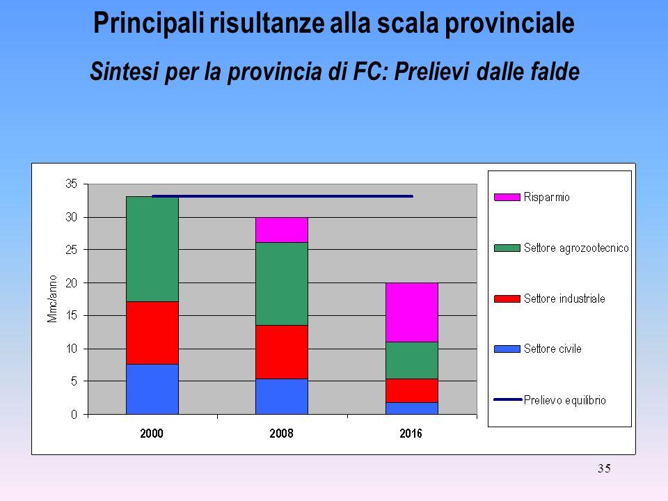 35 Principali risultanze alla scala provinciale Sintesi per la provincia di FC: Prelievi dalle falde