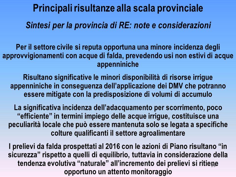39 Principali risultanze alla scala provinciale Sintesi per la provincia di RE: note e considerazioni Per il settore civile si reputa opportuna una mi