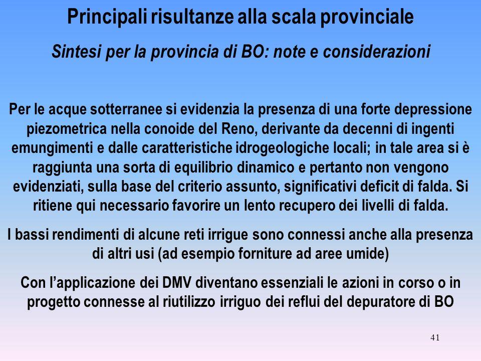 41 Principali risultanze alla scala provinciale Sintesi per la provincia di BO: note e considerazioni Per le acque sotterranee si evidenzia la presenz