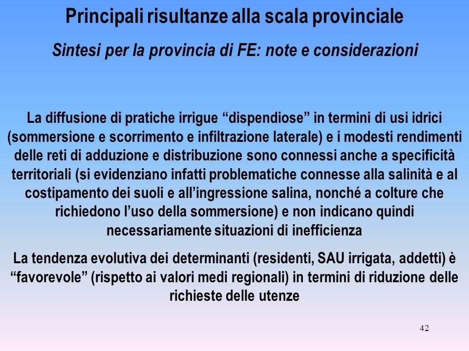 42 Principali risultanze alla scala provinciale Sintesi per la provincia di FE: note e considerazioni La diffusione di pratiche irrigue dispendiose in
