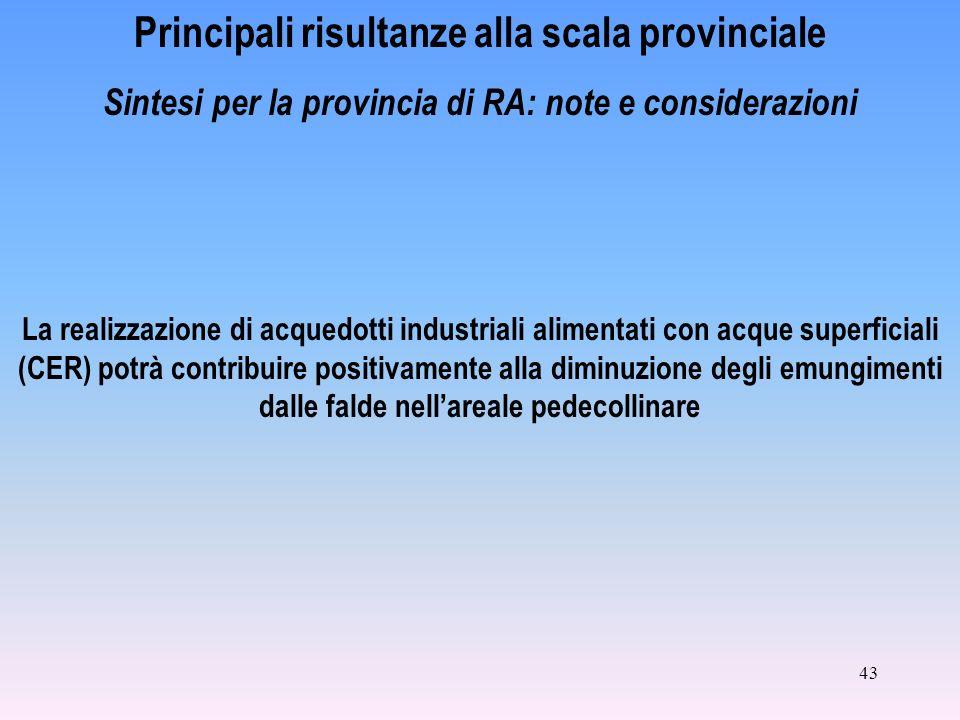 43 Principali risultanze alla scala provinciale Sintesi per la provincia di RA: note e considerazioni La realizzazione di acquedotti industriali alimentati con acque superficiali (CER) potrà contribuire positivamente alla diminuzione degli emungimenti dalle falde nellareale pedecollinare