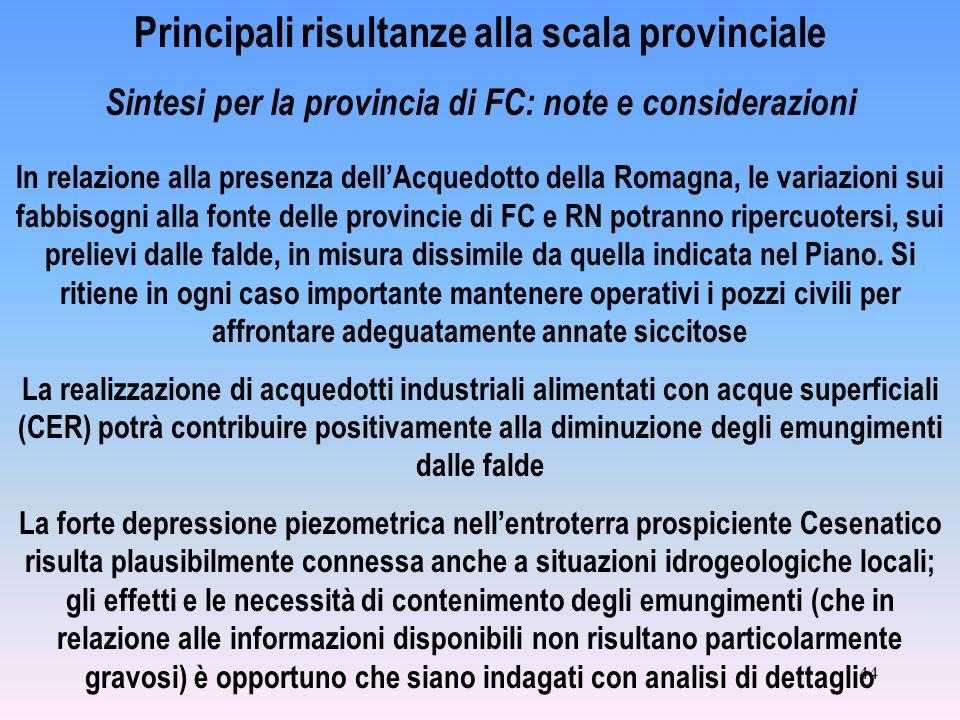 44 Principali risultanze alla scala provinciale Sintesi per la provincia di FC: note e considerazioni In relazione alla presenza dellAcquedotto della