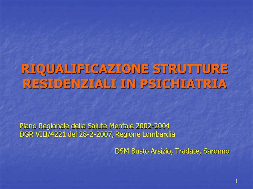 1 RIQUALIFICAZIONE STRUTTURE RESIDENZIALI IN PSICHIATRIA Piano Regionale della Salute Mentale 2002-2004 DGR VIII/4221 del 28-2-2007, Regione Lombardia