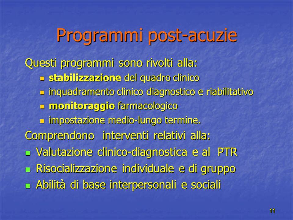 11 Programmi post-acuzie Questi programmi sono rivolti alla: stabilizzazione del quadro clinico stabilizzazione del quadro clinico inquadramento clini