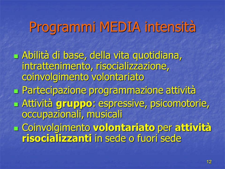 12 Programmi MEDIA intensità Abilità di base, della vita quotidiana, intrattenimento, risocializzazione, coinvolgimento volontariato Abilità di base,