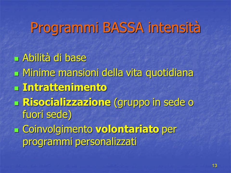 13 Programmi BASSA intensità Abilità di base Abilità di base Minime mansioni della vita quotidiana Minime mansioni della vita quotidiana Intrattenimen