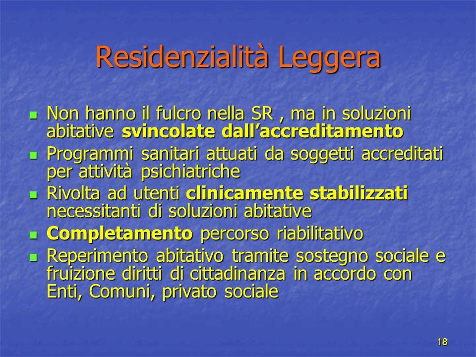 18 Residenzialità Leggera Non hanno il fulcro nella SR, ma in soluzioni abitative svincolate dallaccreditamento Non hanno il fulcro nella SR, ma in so