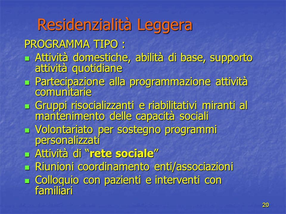 20 Residenzialità Leggera Residenzialità Leggera PROGRAMMA TIPO : Attività domestiche, abilità di base, supporto attività quotidiane Attività domestic