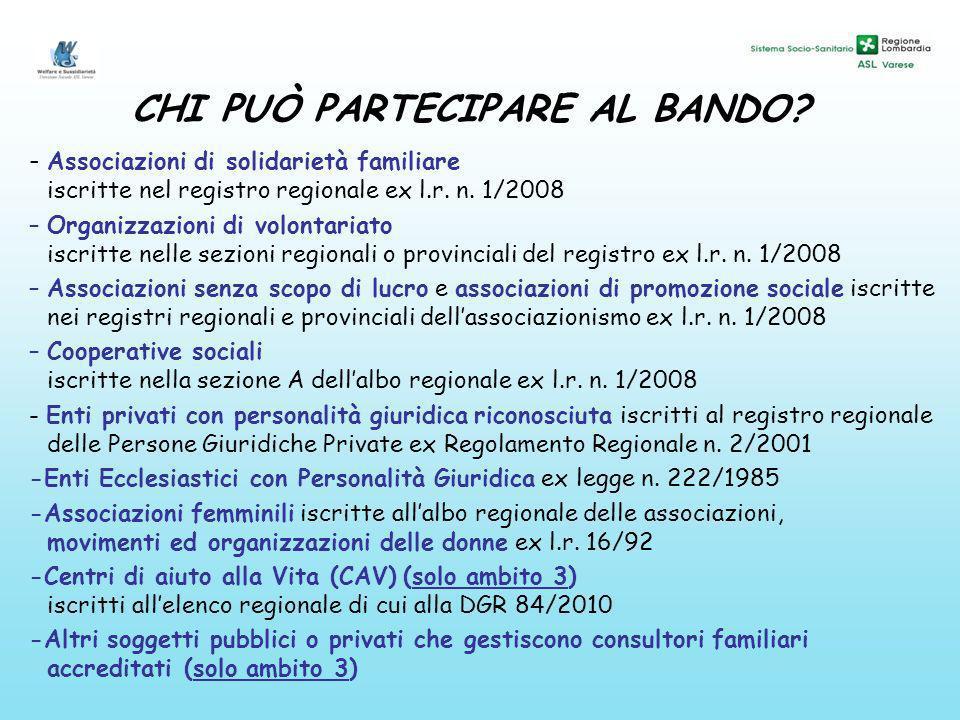 CHI PUÒ PARTECIPARE AL BANDO? - Associazioni di solidarietà familiare iscritte nel registro regionale ex l.r. n. 1/2008 –Organizzazioni di volontariat