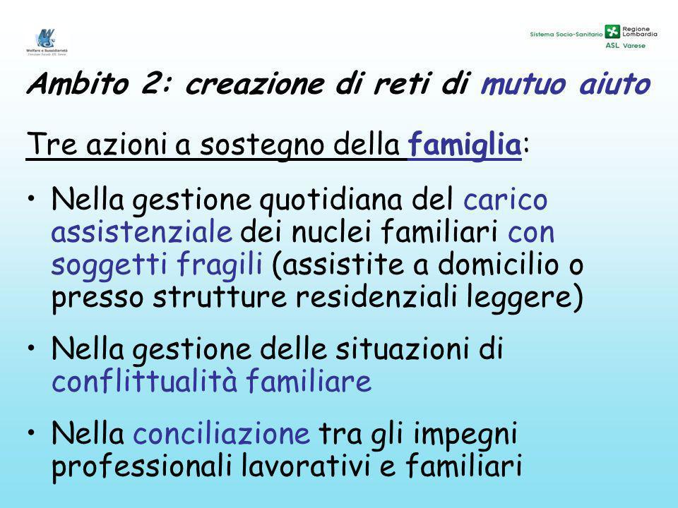 Ambito 2: creazione di reti di mutuo aiuto Tre azioni a sostegno della famiglia: Nella gestione quotidiana del carico assistenziale dei nuclei familia