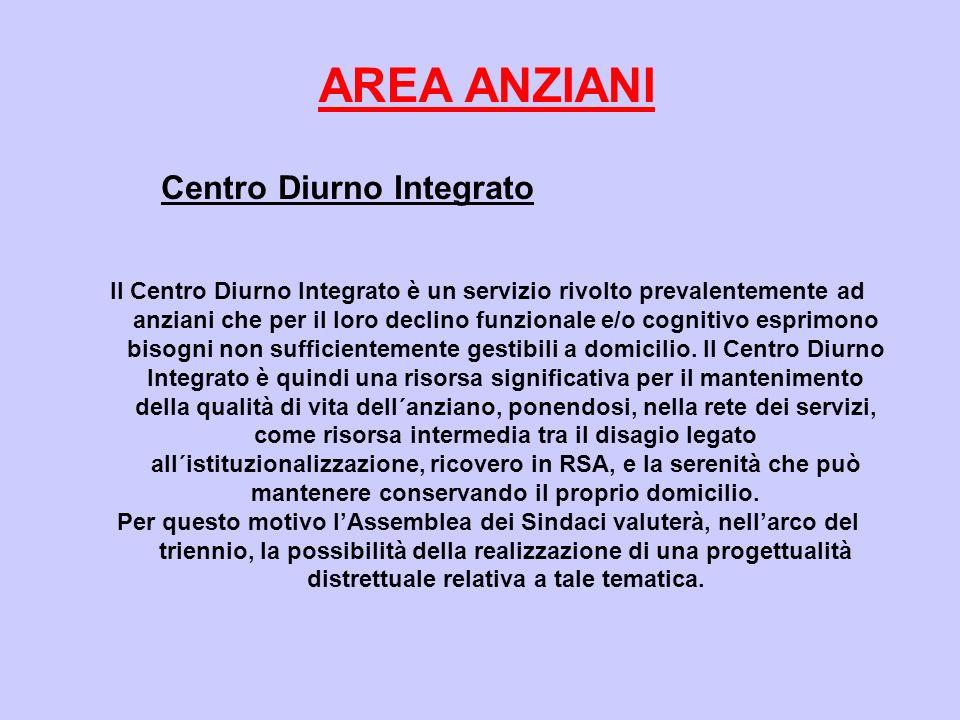 AREA ANZIANI Centro Diurno Integrato Il Centro Diurno Integrato è un servizio rivolto prevalentemente ad anziani che per il loro declino funzionale e/