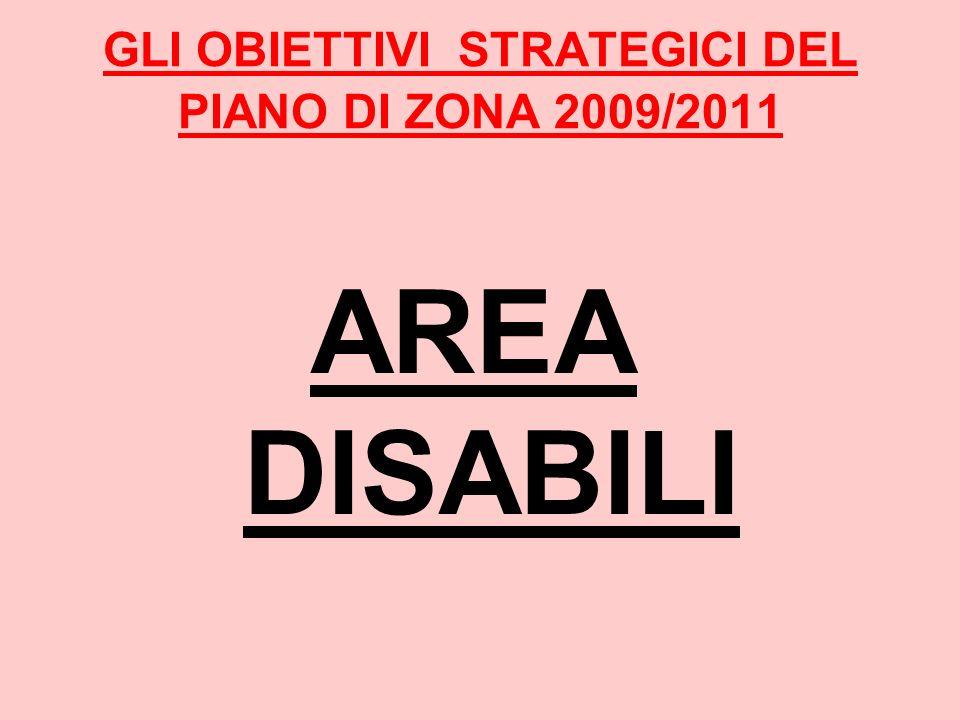 GLI OBIETTIVI STRATEGICI DEL PIANO DI ZONA 2009/2011 AREA DISABILI