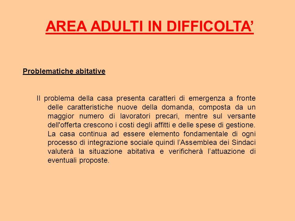 AREA ADULTI IN DIFFICOLTA Problematiche abitative Il problema della casa presenta caratteri di emergenza a fronte delle caratteristiche nuove della do