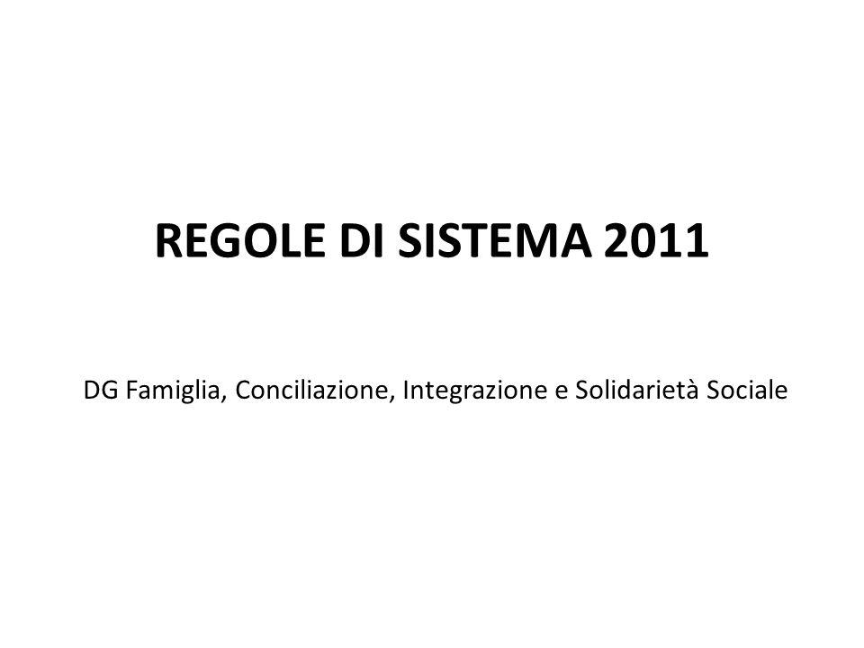 REGOLE DI SISTEMA 2011 DG Famiglia, Conciliazione, Integrazione e Solidarietà Sociale