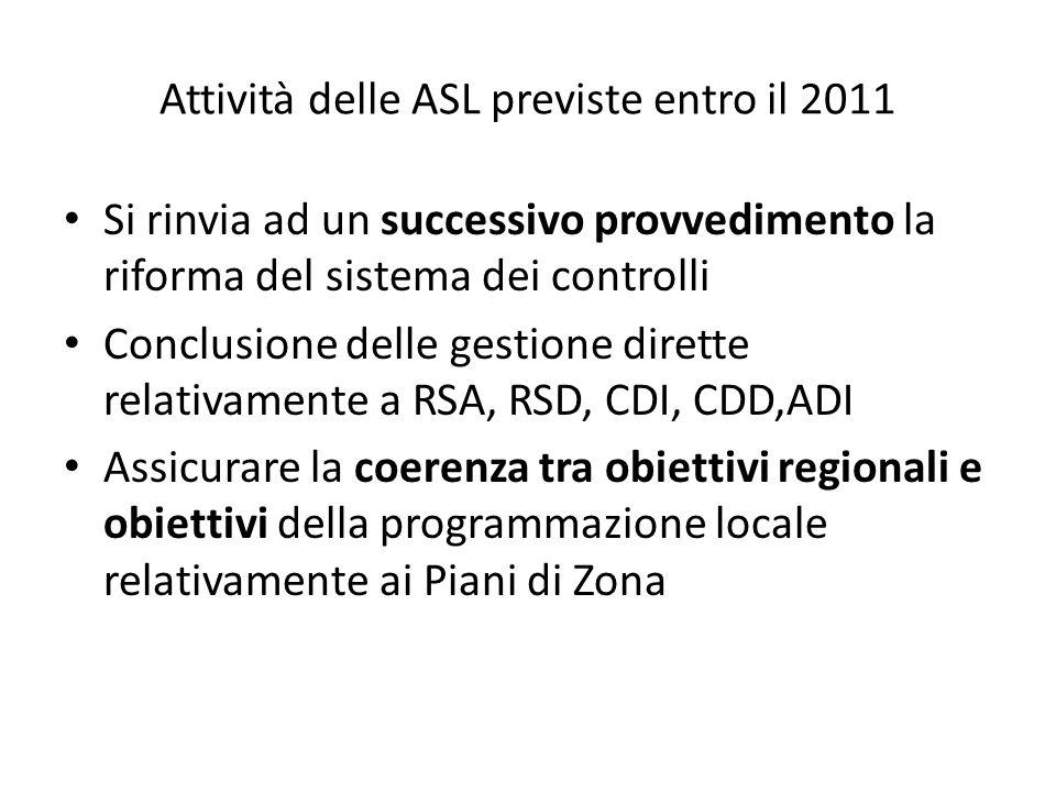 Attività delle ASL previste entro il 2011 Si rinvia ad un successivo provvedimento la riforma del sistema dei controlli Conclusione delle gestione dirette relativamente a RSA, RSD, CDI, CDD,ADI Assicurare la coerenza tra obiettivi regionali e obiettivi della programmazione locale relativamente ai Piani di Zona
