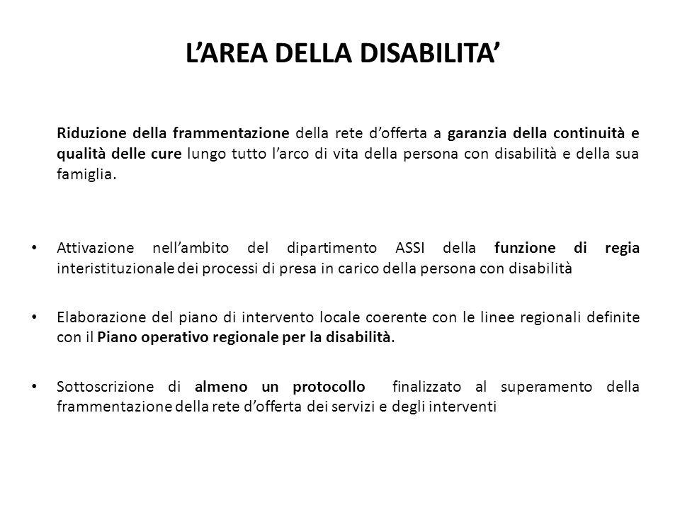 LAREA DELLA DISABILITA Riduzione della frammentazione della rete dofferta a garanzia della continuità e qualità delle cure lungo tutto larco di vita della persona con disabilità e della sua famiglia.