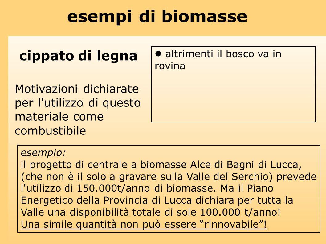 esempio: il progetto di centrale a biomasse Alce di Bagni di Lucca, (che non è il solo a gravare sulla Valle del Serchio) prevede l'utilizzo di 150.00