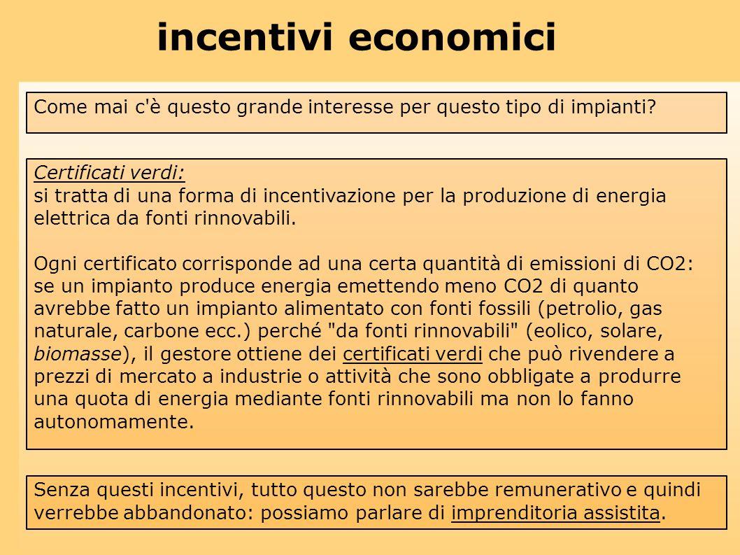incentivi economici Come mai c'è questo grande interesse per questo tipo di impianti? Senza questi incentivi, tutto questo non sarebbe remunerativo e