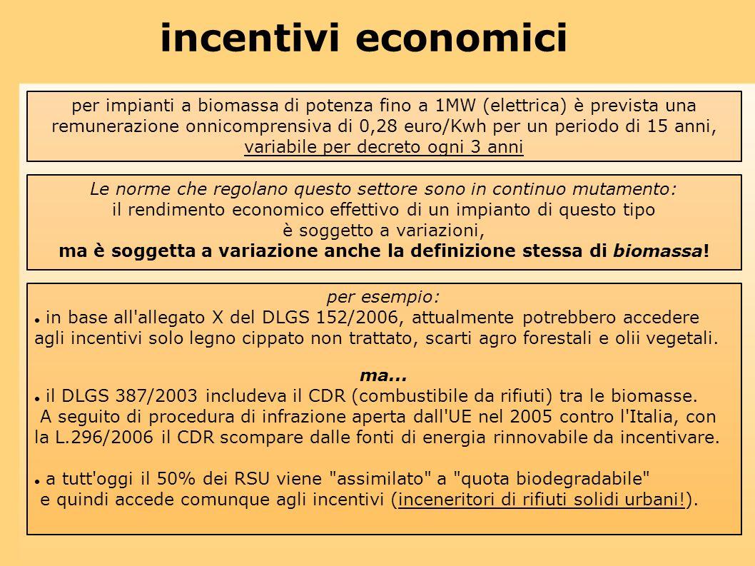 incentivi economici per impianti a biomassa di potenza fino a 1MW (elettrica) è prevista una remunerazione onnicomprensiva di 0,28 euro/Kwh per un per