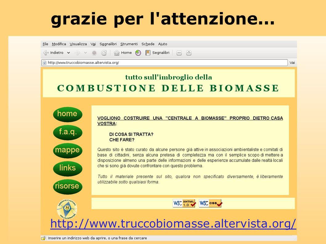 grazie per l'attenzione... http://www.truccobiomasse.altervista.org/
