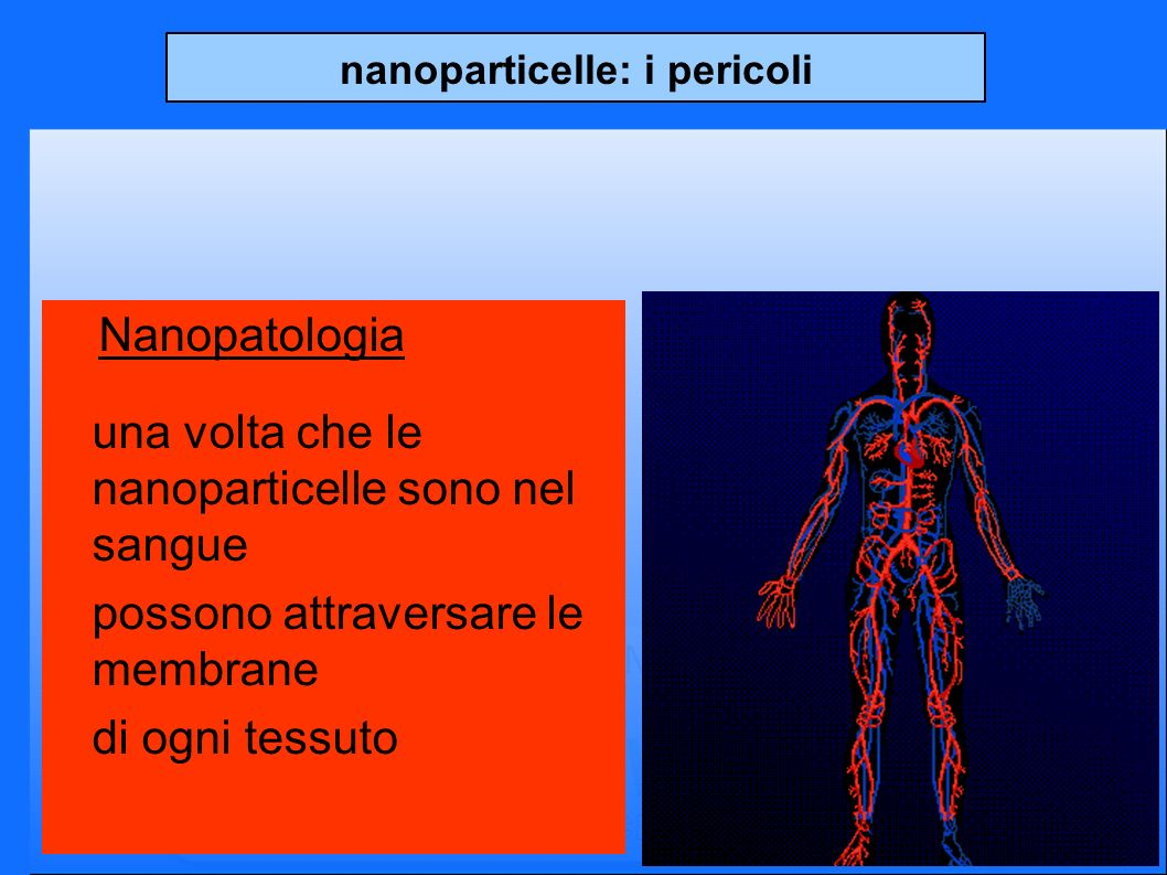 nanoparticelle: i pericoli Nanopatologia una volta che le nanoparticelle sono nel sangue possono attraversare le membrane di ogni tessuto