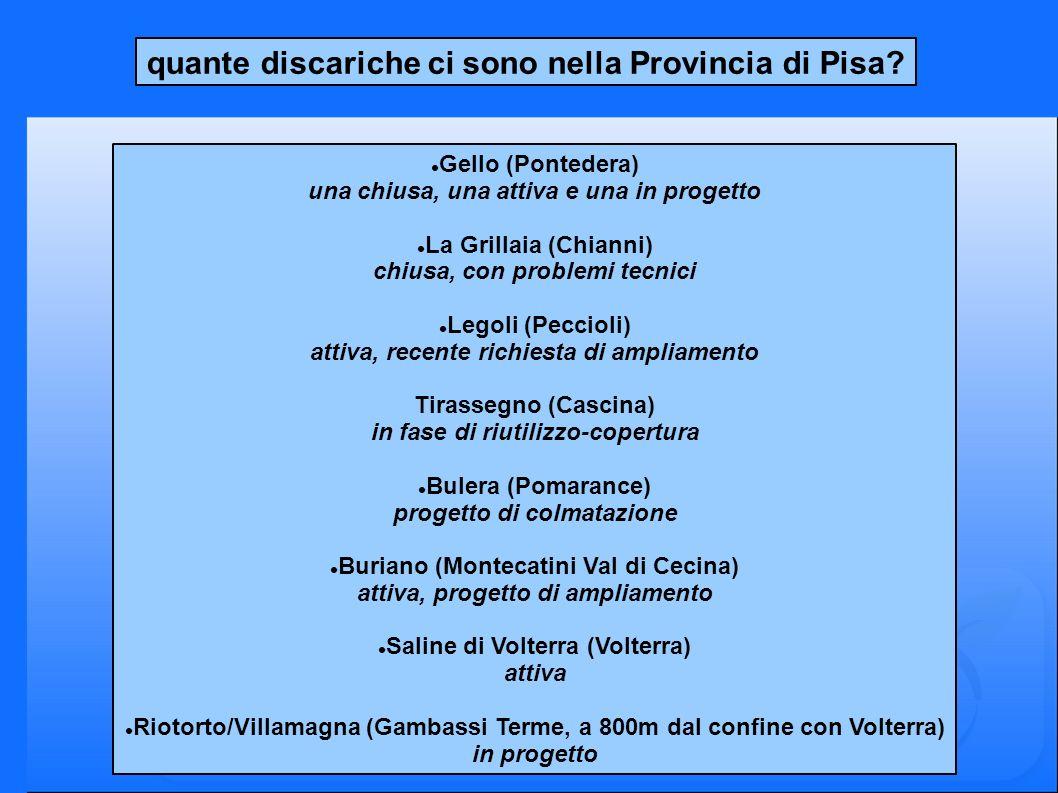 quante discariche ci sono nella Provincia di Pisa? Gello (Pontedera) una chiusa, una attiva e una in progetto La Grillaia (Chianni) chiusa, con proble