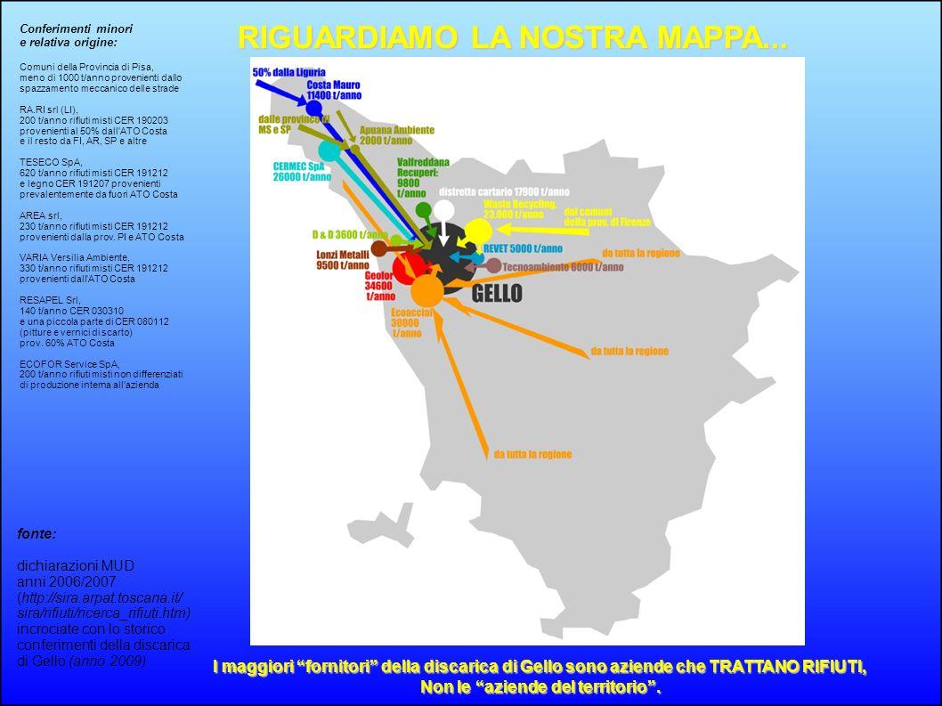 fonte: dichiarazioni MUD anni 2006/2007 (http://sira.arpat.toscana.it/ sira/rifiuti/ricerca_rifiuti.htm) incrociate con lo storico conferimenti della