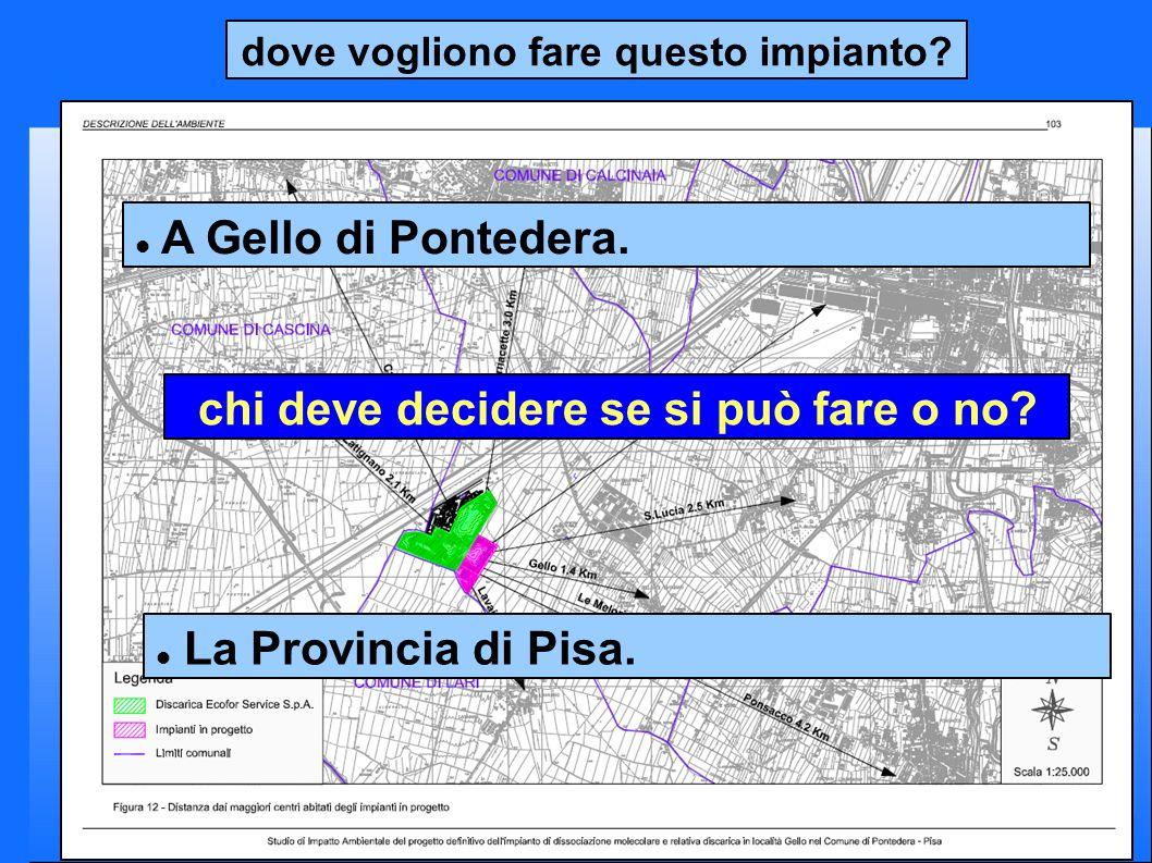 dove vogliono fare questo impianto? A Gello di Pontedera. chi deve decidere se si può fare o no? La Provincia di Pisa.