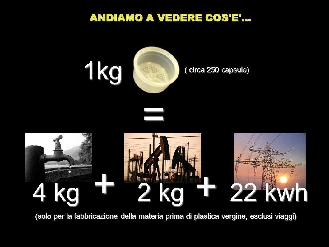 4 kg = + 2 kg 1kg (solo per la fabbricazione della materia prima di plastica vergine, esclusi viaggi) + ( circa 250 capsule) ANDIAMO A VEDERE COS'E'..