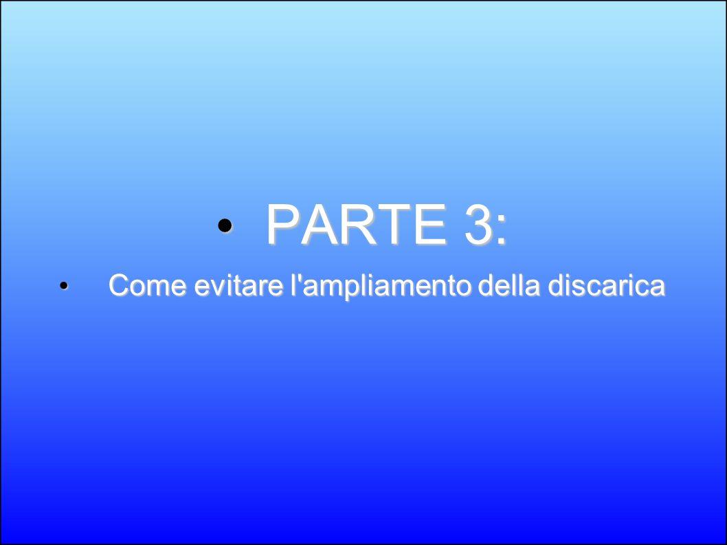 PARTE 3: PARTE 3: Come evitare l'ampliamento della discarica Come evitare l'ampliamento della discarica