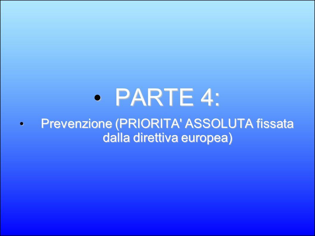 PARTE 4: PARTE 4: Prevenzione (PRIORITA' ASSOLUTA fissata dalla direttiva europea) Prevenzione (PRIORITA' ASSOLUTA fissata dalla direttiva europea)
