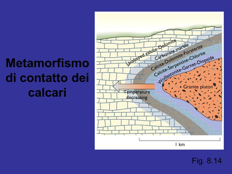 Fig. 8.14 Metamorfismo di contatto dei calcari